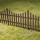 4 Brown Plastic Wooden Effect Lawn Border Edge Garden Edging Picket Fencing Set