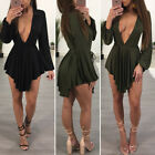UK Women Holiday V Neck Bodycon Front Split Ladies Party SummeR