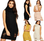 Womens Rip Distressed Polo Neck Cable Knit Ladies Sleeveless Mini Jumper Dress