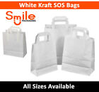Small White Kraft Paper SOS Carrier Bags Flat Handles Takeaway Gifts Food Safe