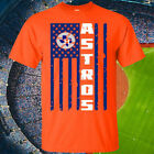 Houston Astros American Flag Distressed Adult Unisex T-Shirt, S-5XL