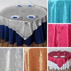 "20 pcs EMBROIDERED TAFFETA 72x72"" TABLE OVERLAYS Wedding Party Linens Supplies"