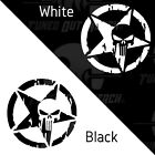 Punisher Skull Military Distressed Star Decal Vinyl Sticker Jeep Army Window