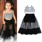 2PCS Kids Baby Girl Stripe Crop Top And Shorts Tulle Skirt Outfits Clothes US