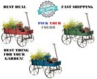 Wood Wagon Wheel Decorative Planter Bed Garden Flower Pot Cart Rustic Outdoor