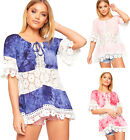 Womens Gypsy Tie Dye Off Shoulder Bardot Crochet Floral Lace Top Ladies Blouse