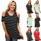 UK Women Cut Out Shoulder Striped Loose T-Shirt Ladies Summer Casual Tops Blouse