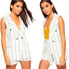 Womens Pinstriped Crepe Waistcoat Jacket High Waisted Shorts Ladies Co-Ord Set