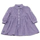 0410W vestito bimba RALPH LAUREN white/purple cotton dress kid girl