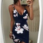 UK Womens Holiday Strappy V Neck Bodycon Ladies Floral Summer Beach Mini Dress