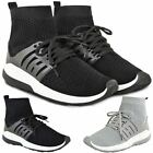 Womens Ladies Black Stretch Knit Sock Gym Sport Trainers Sneakers Size