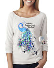 Womens Off Shoulder French Terry Top Born To Stand Out Peacock