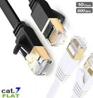 RJ45 Flat Cat7 Ethernet Gold Plated 10Gbps Router Modem Network LAN Cable Lot UK