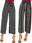 Womens Multi Striped Print 3/4 Wide Leg Belted Trousers Ladies Pants Crepe 8-14