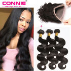 Brazilian Body Wave 3Bundles with 360 Lace Frontal Closure Human Hair Extensions