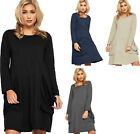 Womens Baggy Boho Gypsy Dress Ladies Long Sleeve Pockets Plain Oversized 8-14
