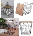 Retro Side Table Metal Wire Wood Marble Effect Top Storage Basket Home Furniture