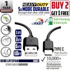 1,3,6,10 FT fast charge & Data Heavy Duty PVC USB Type-C Cable For Samsung,ZTE..