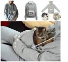 Women Hoodie Large Pocket Pet Dog Cat Kangaroo Holder Carrier Coat Pouch Tops ZY