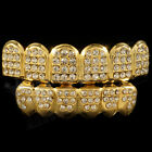 14K Gold Plated ICED OUT CZ Teeth GRILLZ New Top Bottom Tooth Caps Mouth Bling