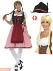 Adults Oktoberfest Costume + Wig Hat Mens Ladies Bavarian Fancy Dress Outfit