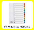 1- 10 Numbered A4 Dividers Subject Coloured Index File Filing - 464297
