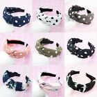 Women Polka Dot Bow Headband Hairband Knot Hair Band Retro Wide Headwear
