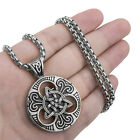 Men Women Large Celtic knot Magic Triquetra Pendant Stainless Steel Necklace Set