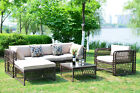 Outdoor Patio Furniture Wicker Rattan Sofa Sectional Cushioned Seat Luxury Large