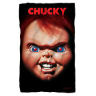 Child's Play Movie POSTER Big Chucky Face Lightweight Polar Fleece Throw Blanket image