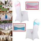 50/100 Spandex Stretch Chair Cover Sash Bow Wedding Buckle Slider Sashes LOT EXC