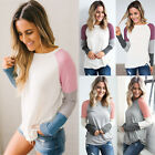 UK Fashion Womens Long Sleeve Crew Neck T-Shirt Ladies Casual Loose Tops Blouse