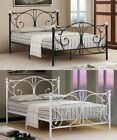 4ft6 Double 5ft King Black Or White Modern Metal Bed Frame With Crystal Finials