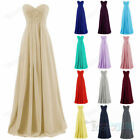 Long Chiffon sweetheart Bridesmaid Formal Gown Ball Party Evening Prom Dress