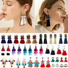 Women's Fashion Boho Dangle Long Tassel Earrings Fringe Crystal Ear Drop Jewelry image