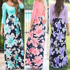 Women's Floral Print Three 3/4 Long Sleeve Casual Tunic Long Boho Maxi Dress 001