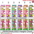 Personalised Height Chart Owl Childrens Wall Sticker Boys Girls Growth Kids Room