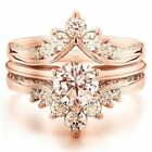 Gorgeous Women 18K Rose Gold Plated Morganite Ring Set Wedding Jewelry Size 6-10 image
