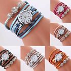 Women Girl Crystal Leather Band Bracelet Wristwatch Stainless Steel Casual Watch image