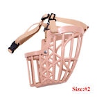Pet Dog Muzzle Mouth Mesh Mask Cover Basket No Barking Chewing Biting Beige 1Pcs