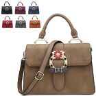 Ladies Fx Leather Floral Diamante Buckle Satchel Bag Handbag Shoulder Bag M7572