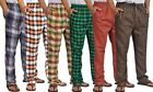Mens Plaid Checkered Pajamas Casual Cotton Lounge Pants Waistband Flannel Pocket