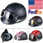 motorcycle helmets goggles - US Harley Helmets Motorcycle Open Face Half DOT Scooter W/Visor UV Goggles