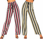 Womens High Waist Belted Striped Wide Leg Flared Palazzo Trousers Ladies New