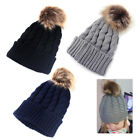 Children Kids Baby Boy Winter Knitted Cap Faux Fur Pom Ball Wool Beanie Hat Ski
