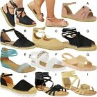 Womens Ladies Kids Flat Sandals Casual Summer Espadrille Summer Strap Shoes Size