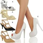 Womens Ladies Wedding Shoes Prom Low High Heels Strappy Sandals Court Shoes Size