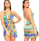 Womens Baroque Scarf Print Satin Strappy Halterneck Wrap Over Mini Dress Ladies