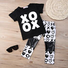 US Fashion Toddler Baby Kids Girl T-shirt Tops Pants Home Outfits 2Pcs Clothes