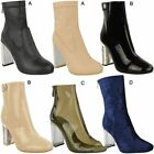 Womens Ladies Ankle Boots Long Block High Heels Casual Party Shoes Winter Size